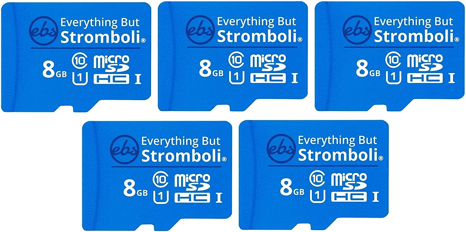 Everything But Stromboli 8GB MicroSD Memory Card w/Adapter (Bulk 5 Pack) Class 10, U1, UHS-1, Micro SDHC Card for Compatible Raspberry Pi, Dash Cam, Galaxy Tablets, Phones, Digital Cameras, Trail Cam