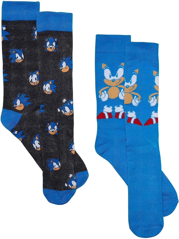 OKX Sega Sonic Men's 2 pack (2 Pair) Blue Crew Socks, Size 10-13
