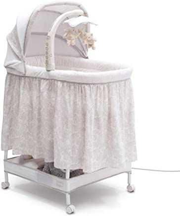 featured product Simmons Kids Silent Auto Gliding Deluxe Bassinet Embossed Paisley,  Ivory with Taupe