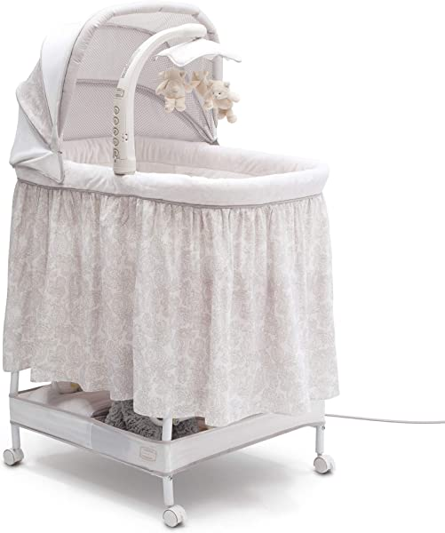 Simmons Kids Silent Auto Gliding Deluxe Bassinet Embossed Paisley