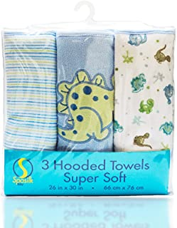 "Spasilk Soft Terry Hooded Towel Set, Blue Dino, 26"" X 30"", 3-Count"