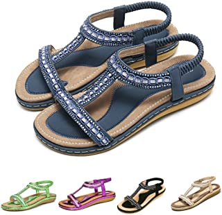 Godob Femmes Sandales Plates Respirant Anti-d/érapant Zipper Retour Bout Ouvert Casual pour Summer Beach
