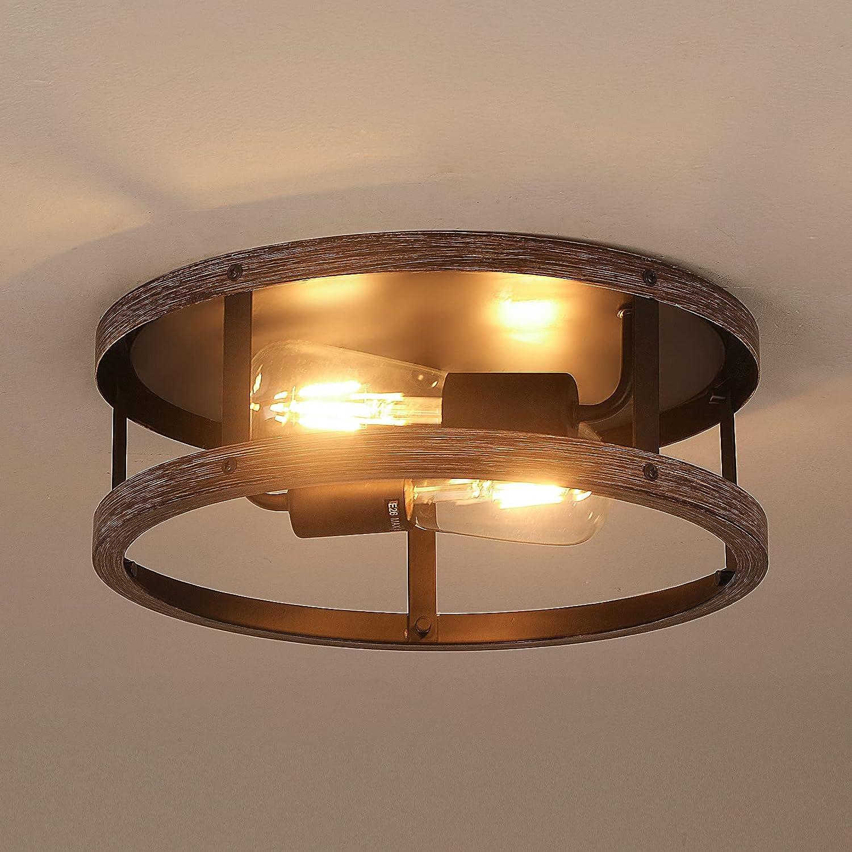 Minneapolis Mall 2-Light Ceiling Light Fixture Round Flush Mount Fix Recommendation Drum Lantern