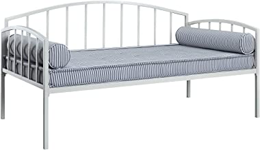 DHP Ava Metal Daybed Frame with Round Arm Design, Fits Twin Size Mattress, White