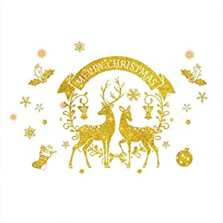 PPCP Christmas Ornaments DIY Wall Stickers Gold Stickers PVC Window Decals (Size : B)