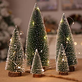 Firlar 5pcs Christmas Trees, Frosted Sisal Christmas Tree, Bottle Brush Trees with Wood Base, DIY Pine Tree,Tabletop Trees Winter Snow Ornaments for Christmas Home Party Decoraction