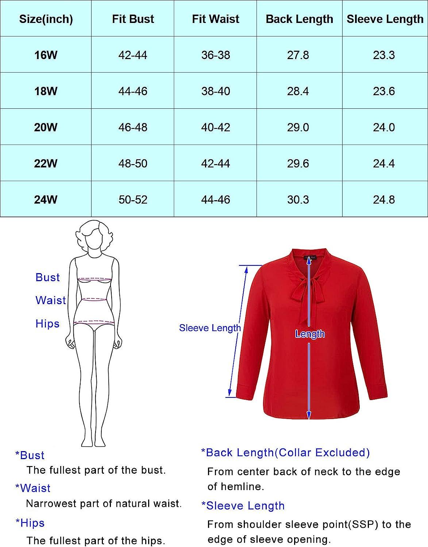 Hanna Nikole Womens Bow Tie Neck Blouse Long Sleeve Casual Office Work Tops Chiffon Shirts