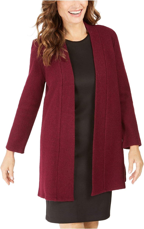 Kasper Womens Burgundy Solid Long Sleeve Open Cardigan Sweater Size XS