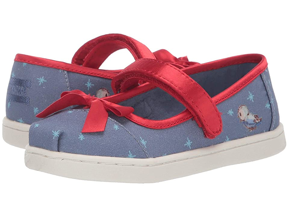 TOMS Kids Mary Jane Disney(r) Princesses (Infant/Toddler/Little Kid) (Blue Snow White Printed Canvas/Bow) Girls Shoes