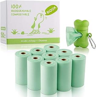 BIOOK Bolsas Caca Perro 100% Biodegradable con 1 Dispensador, Materiales Basados en PLA y Compostables Premium Ecológico, ...