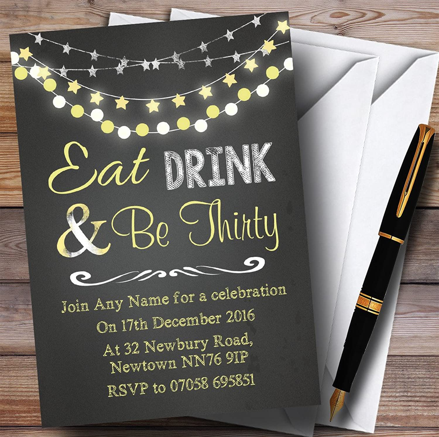 Chalk Yellow Lights 30th Personalised Birthday Party Invitations