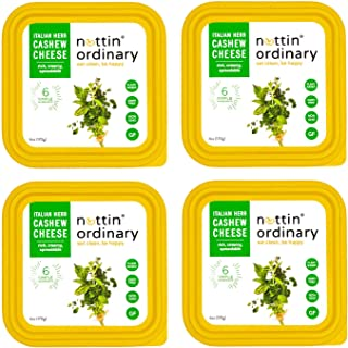 Nuttin Ordinary Plant-Based Cashew Cheese, Dairy-Free Cheese, Gluten-Free, Vegan Cheese (Italian Herb) 4 Packs 6oz Each