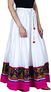 Jingle Impex White Banarasi Border Cotton Long Skirt for Women (Free Size) Size: Length- 40 Inches, Waist- Non Stretch- 26, After Stretch- 42 Inches