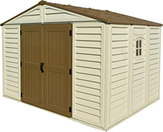 Woodbridge Plus 10.5 Ft. x 8 Ft. Vinyl Garden Storage Shed | Made of Fire Retardant PVC Resin, All-Weather, Waterproof Outdoor Solution, Store Bikes, Tools, BBQ, | Strong Structure, Maintenance Free