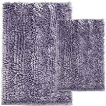 Comfy Soft 2 Piece Butter Chenille Bath Mat Rug Set, Shiny Noodle Bathroom Mats Rugs with Non Slip Backing, Super Water Ab...