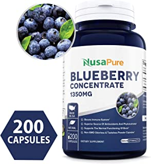 Wild Blueberry Concentrate 1350mg 200 Powder caps - Made from Organic Berries - Non-GMO & Gluten Free - Packed with Antioxidants