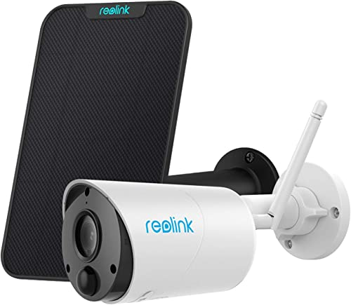 Reolink Wireless Security Camera Outdoor Rechargeable Solar Battery Powered, 1080P Wire-Free 2.4GHz WiFi Camera Syste...