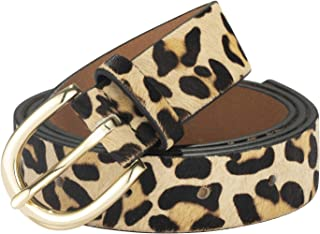 Women's Leopard Print leather Belt Cheetah Waistband with Vintage alloy buckle for jeans/Casual pants