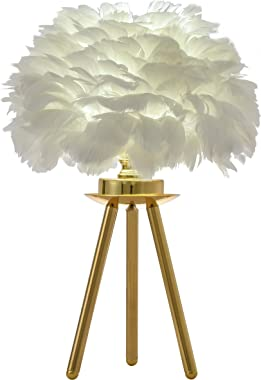 "FERWVEW Modern Gold Feather Table Lamp, 9.06"" Tripod Desk Night Light Bedside Table Lamp, Elegant Feather lamp Nightstand Lights for Bedroom Living Room Kids Room Wedding"