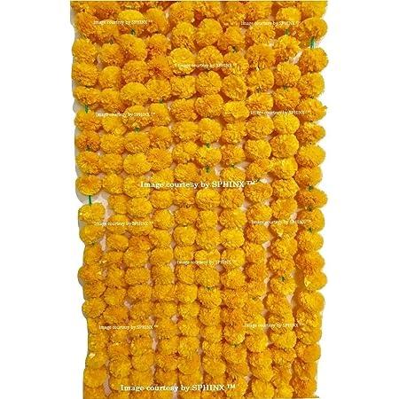 SPHINX Artificial Marigold Flower Garland (Light Orange, 5 Piece)