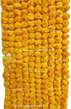 Sphinx Artificial Marigold Fluffy Flowers Garlands for Decoration - Pack of 5 (Light Orange)
