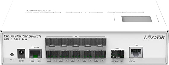 Mikrotik CRS212-1G-10S-1S+IN L3 Gigabit Ethernet (10/100/1000) Energía sobre Ethernet (PoE) Color blanco switch - Switch de red (L3, Gigabit Ethernet (10/100/1000), RJ-45, Color blanco, Qualcomm Atheros 8519, 400 MHz)