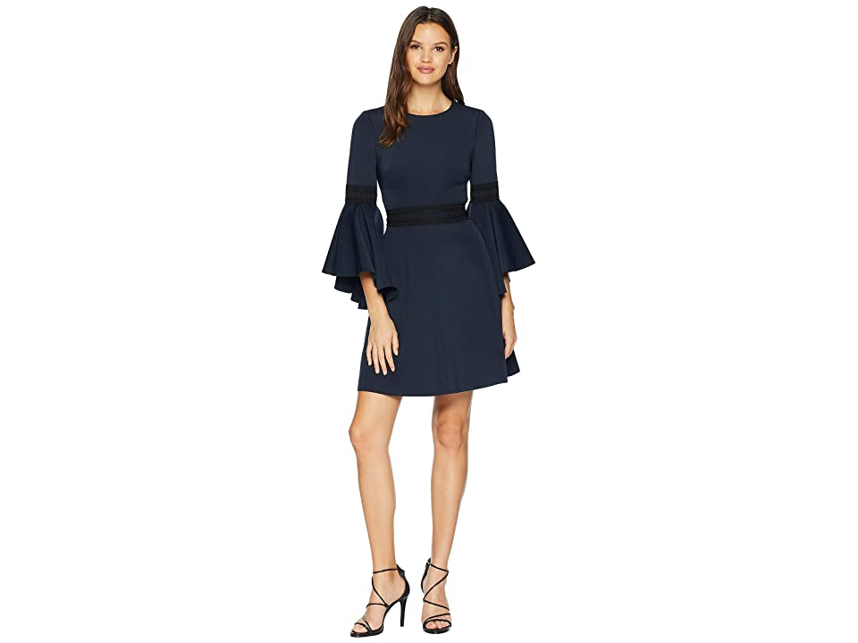 Badgley Mischka Fit and Flare Dress (Navy) Women