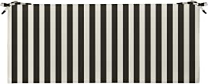 RSH Décor Decorative Indoor Outdoor 45W x 18D x 2.5H Foam Bench Cushion Pad with Ties ~ Choose Color Great for Porch Swing, Patio, Deck & Home Décor (Black & White Cabana Stripe)