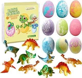 Dino Egg Bath Bomb Gift Set with Dinosaur Inside, 9 Pack Organic Bath Bombs with Surprise Toy Inside, Handmade Fizzy Balls...