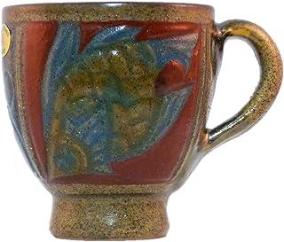 清正陶器 マグカップ (赤) φ10cm 赤絵魚紋マグカップ 丸