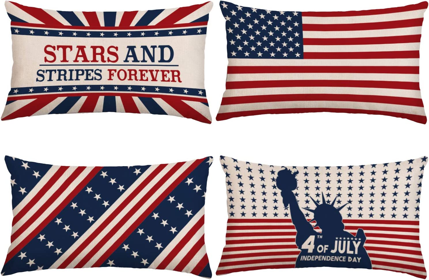 Whaline Seattle Mall 4th of July Pillow Cover Be super welcome Cush Rectangle Throw Patriotic