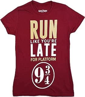 Run Like You're Late For The Hogwarts Express Platform 9 3/4 Women's Burgundy Tee T-Shirt Shirt