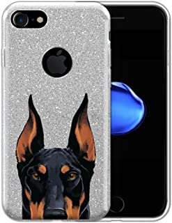 FINCIBO Case Compatible with Apple iPhone 7 / iPhone 8, Shiny Sparkling Silver Bling Glitter TPU Protector Cover Case for iPhone 7/8 (NOT FIT 7 Plus, 8 Plus) - Black Rust Doberman Pinscher Dog