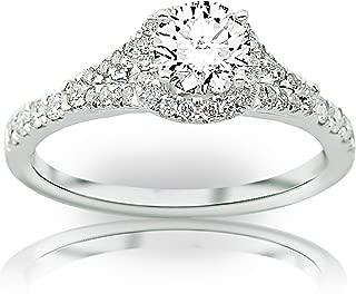 1.9 Carat 14K White Gold Cushion Shape Split Shank Halo Style Diamond Engagement Ring with a 1.5 Carat Moissanite Center