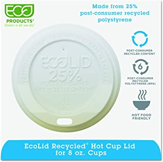 Eco-Products - EcoLid 25% Recycled Content White Hot Cup Lid - Fits 8oz Hot Cup - EP-HL8-WR (10 Packs of 100)