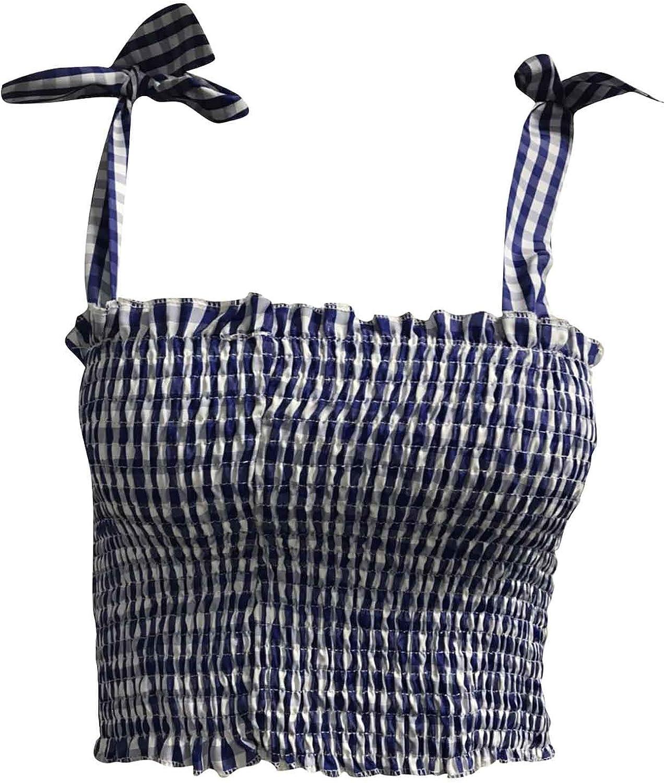 iYBWZH Women Fashion Camisole Short Vest Casual Plaid Print Bowknot Tops