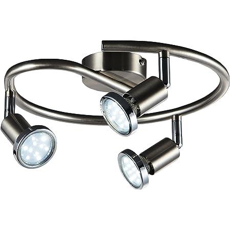 B.K.Licht plafonnier LED 3 spots orientables, luminaire plafond chromé, lumière blanche chaude, spots plafond chambre salon, 230V, GU10, IP20, 3x3W inclus