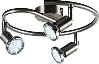 B.K.Licht Lámpara de techo con focos giratoria incl. 3 x 3W bombillas LED GU10 I Aplique de salón I luz blanco cálido 3000...