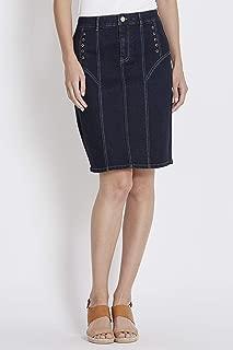 Rockmans Contrast Stitch Eyelet Knee Length Skirt - Womens