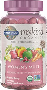 Garden of Life mykind Organics Women's Gummy Vitamins - Berry - Certified Organic, Non-GMO, Vegan, Kosher Complete Multi - Methyl B12, C & D3 - Gluten, Soy & Dairy Free, 120 Real Fruit Gummies