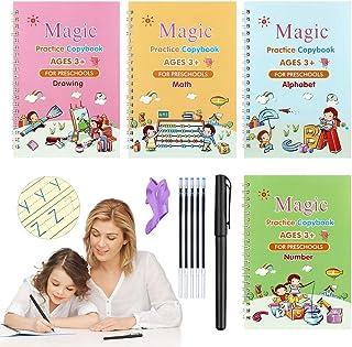 4pcs Magic Practice Copybook for Kids, Magic Calligraphy Set for Kids Number Math Drawing Alphabet Handwriting Book, Reusa...