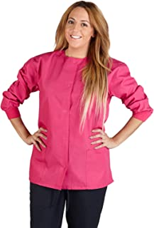 Natural Uniforms Women's Warm Up Jacket Medical Scrub Jacket (XS to 5XL) (X-Large, Hot Pink)