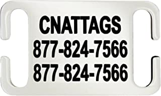 CNATTAGS Stainless Steel Slide-On Pet ID Tags Dog Tags Personalized Front and Back Engraving