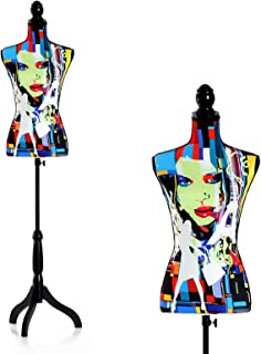HOMCOM Maniquí Femenino de Costura Busto de Señora para Modistas Exhibición Altura Ajustable a 130-168cm Multicolor