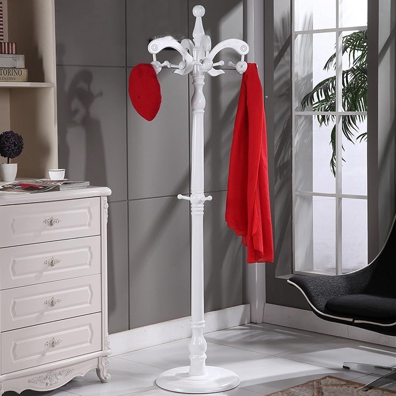 European Solid Wood Coat Rack Floor Hangers Indoor Drying Racks (color   White)