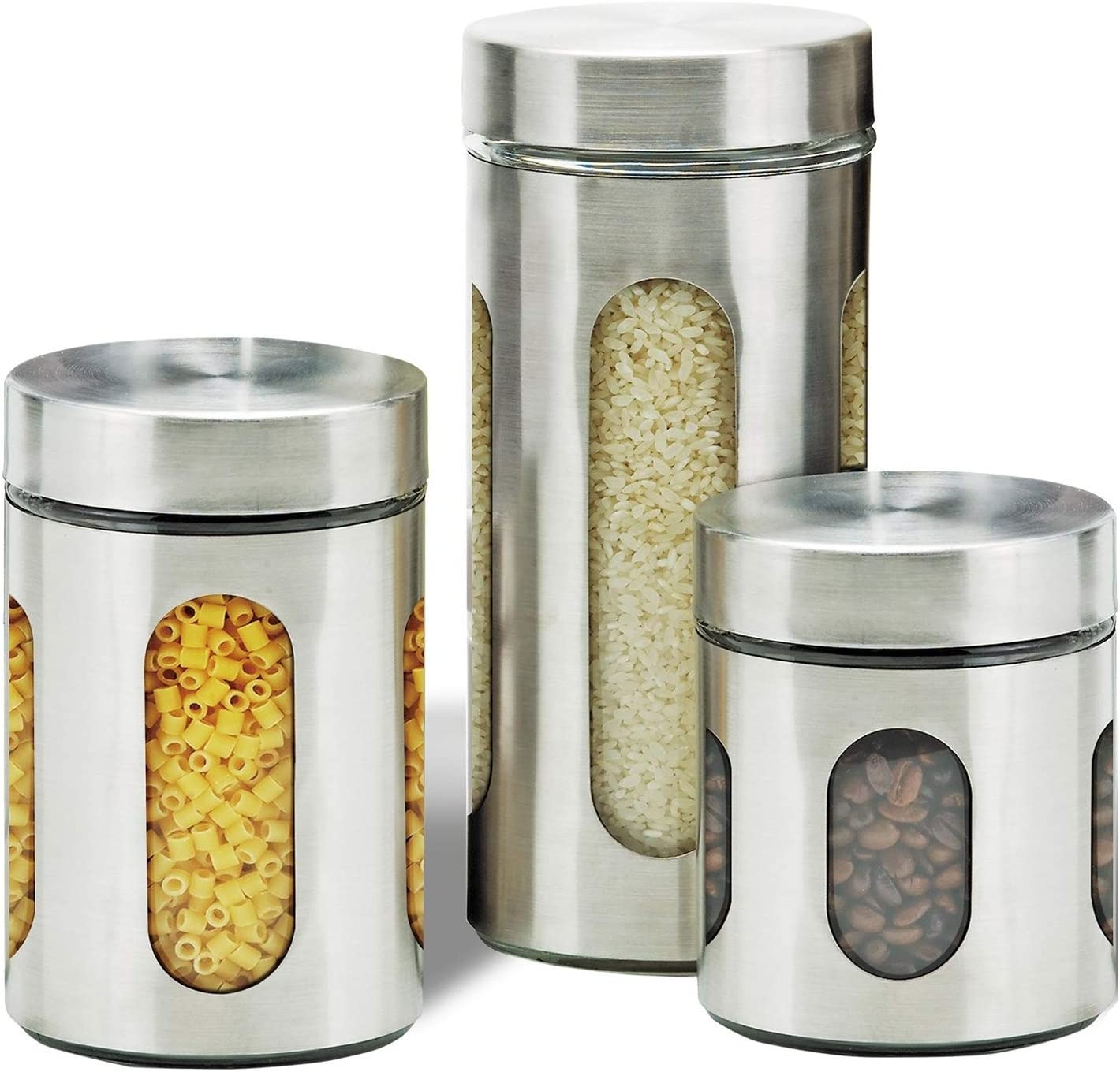 Amazon Com Air Tight Kitchen Canister Set By Premius 3 Piece Glass And Metal Canisters Quick Access And Space Saving Great Safe And Fresh Food Convenient Sizes Modern Design Stainless Steel Silver Kitchen Dining