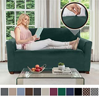 Gorilla Grip Original Velvet Fitted 1 Piece Loveseat Slipcover, Stretch Up to 54 Inches, Soft Velvety Covers, Couch Slip Cover, Spandex Loveseats Furniture Protector, with Fasteners, Hunter Green