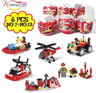 222Pcs Fire Rescue Vehicles Building Blocks Set ,6 Different Models filled in 6 Easter Eggs Including Fire Boat,Helicopters and Fire Truck for Kids Easter Egg Fillers, Easter Basket Fillers #7-#12