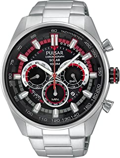 Pulsar Men PX5017X Year-Round Chronograph Solar Powered Silver Watch