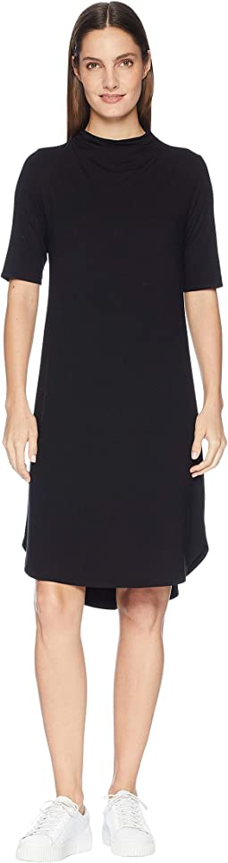 Viscose Jersey Drape Neck Elbow Sleeve Dress